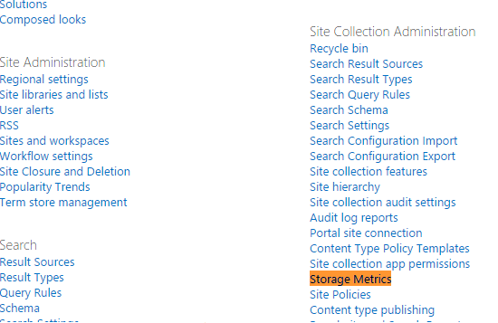 find subsite size sharepoint