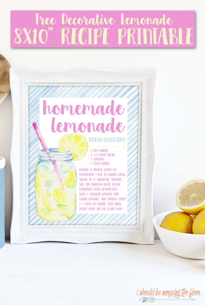 Framed recipes make adorable kitchen decor! This Free Decorative Recipe Printable for Lemonade is perfect for summertime! Instant download.