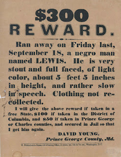 A reward poster for a runaway man named Lewis.