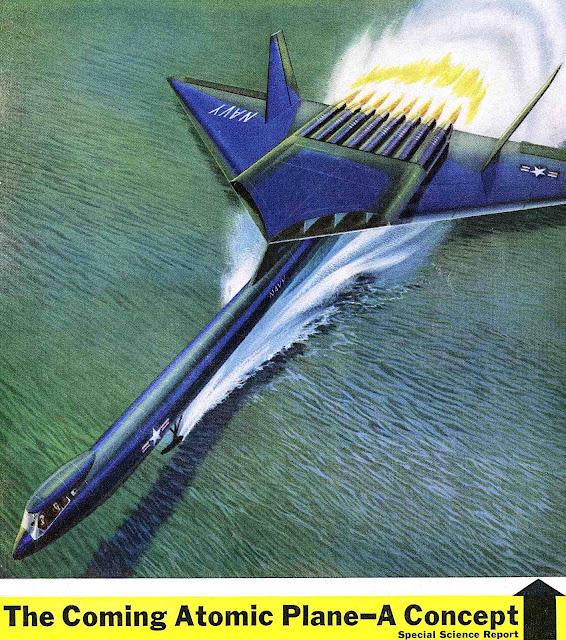 a 1956 Atomic Plane conceptual illustration in color
