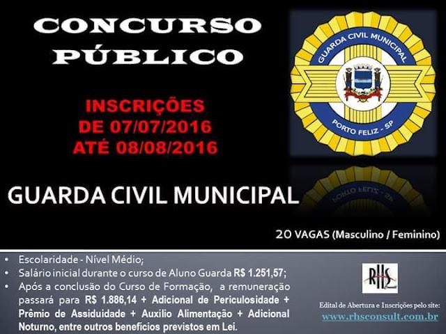 Concurso Público para 20 vagas na Guarda Civil de Porto Feliz