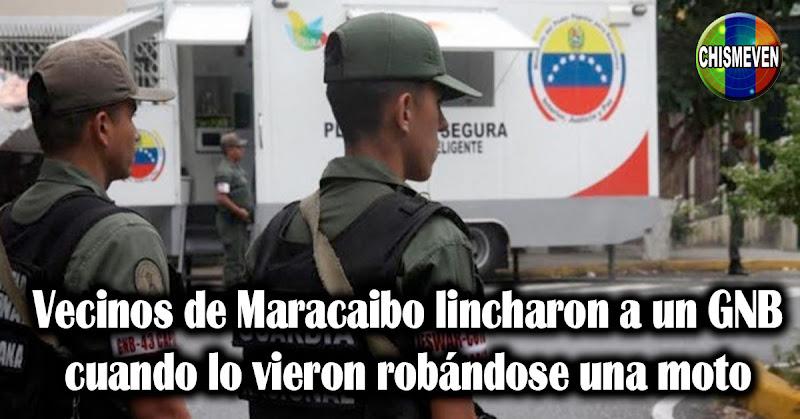 En Maracaibo lincharon a un GNB cuando lo vieron robándose una moto