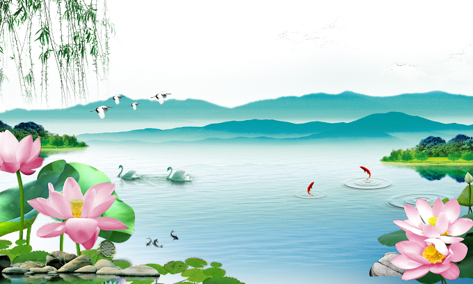 swan on water painting, painting Shan shui Wall, FIG lotus goldfish, television, 3D Computer Graphics png by: pngkh.com