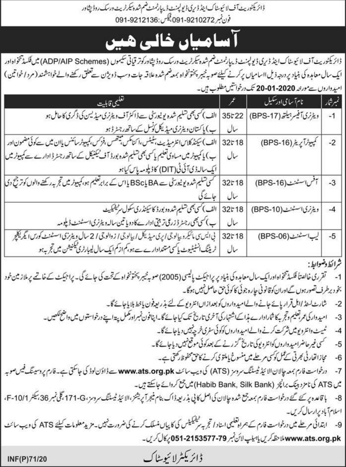 Directorate of Livestock & Dairy Development Department Peshawar KPK Jobs 2020