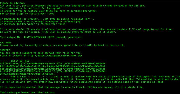 Pylocky ransomware nota