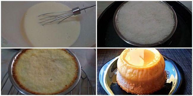 Preparación del flan casero de coco