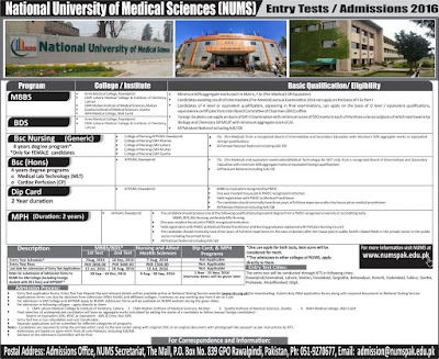 nums admissions 2016, numspak