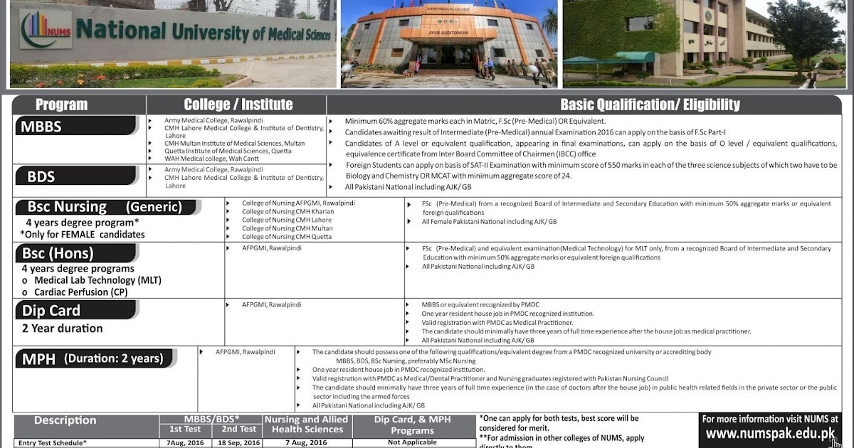 National University of Medical Sciences (NUMS) Admissions