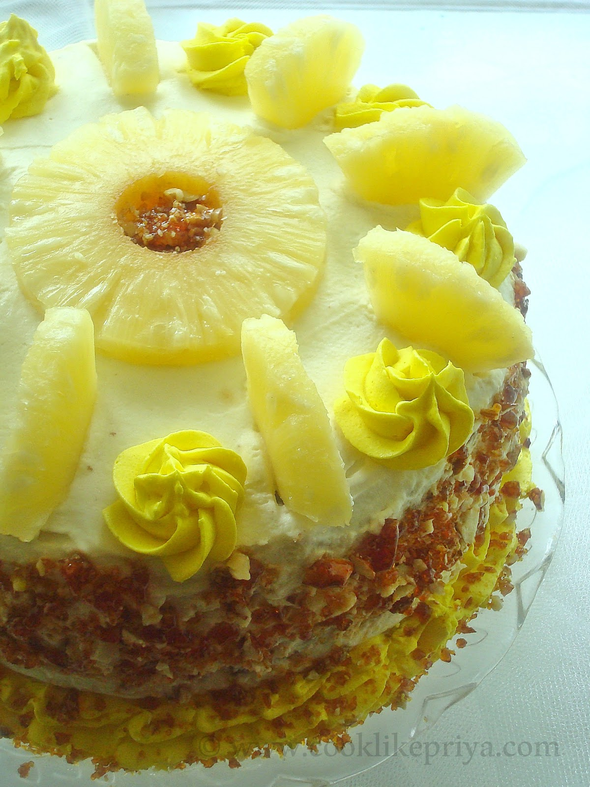 Pineapple Cake With Fresh Cream Icing