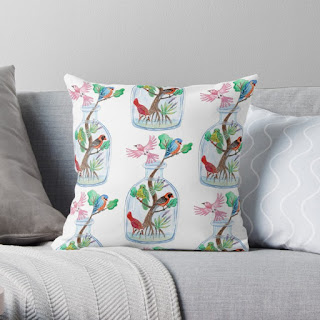 Birds in a bottle throw pillow