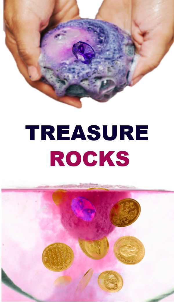 "Send kids on a hunt for ""magic treasure"" with this easy recipe for play! #treasurehunt #treasurerocks #magicrocks #fizzingrocks #growingajeweledrose #activitiesforkids"