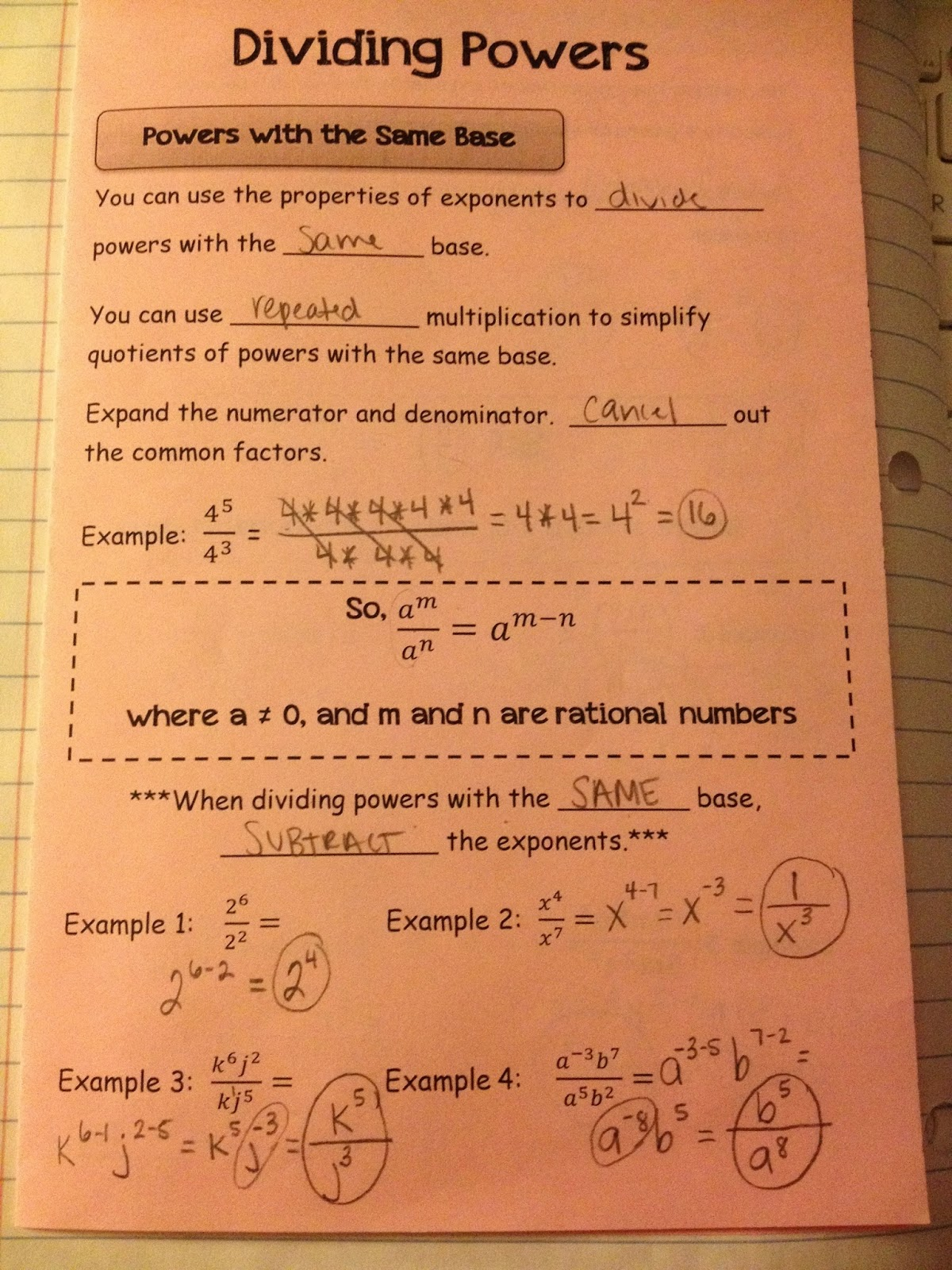 Making Mathematics Magical Rules Of Exponents Interactive Notebook Pages