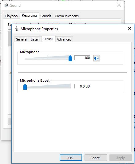 Pengaturan mic Windows