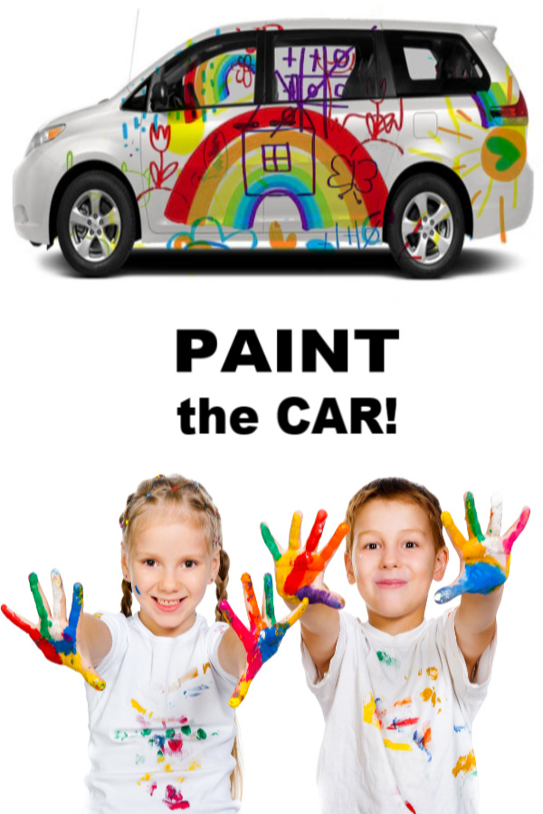 Let kids paint the car!  Talk about a fun canvas, and then they get to wash it all off! #growingajeweledrose #paintingideas #paintthecar #carpaintingforkids #sidewalkchalkideas #sidewalkchalkpaint #summeractivitiesforkids #bigart #sidewalkchalk #summerbucketlist #artactivitiesforkids