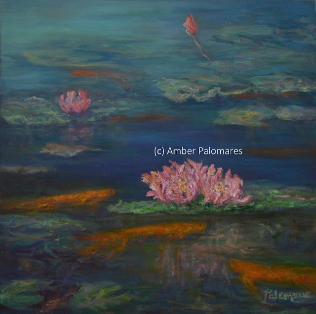 Painting of water lilies and gold fish inspired by monet