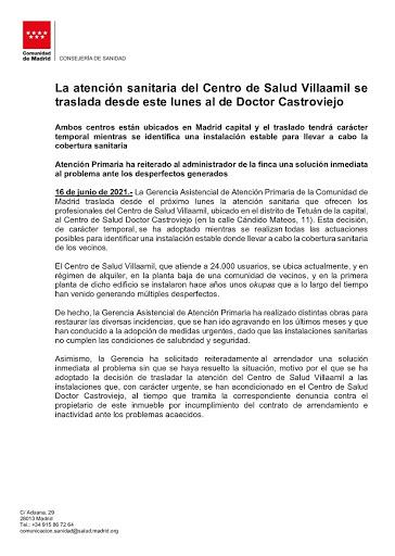 Cierre del Centro de Salud Villaamil