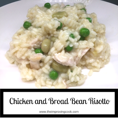 Chicken and broad bean risotto pinnable image