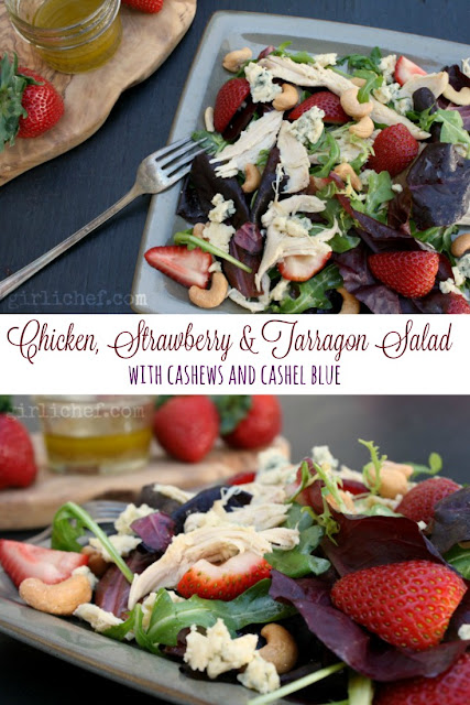 Chicken, Strawberry and Tarragon Salad with Cashews and Cashel Blue