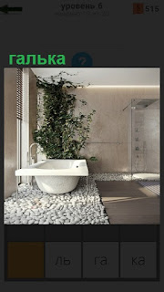В комнате стоит белая ванна на гальке и рядом в горше растение