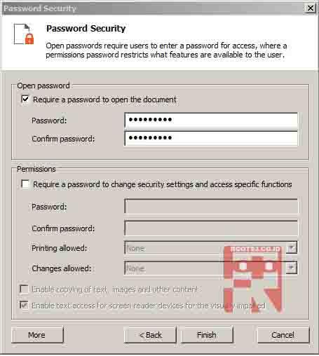 langkah awal proses penambahan password ke dokumen pdf