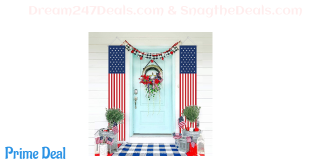 ORIENTAL CHERRY Patriotic Decorations for Labor Day-4th of July Decor-Hanging American Flag Banners Stars and Stripes Porch Sign-Fourth of July Party Supplies Indoor Outdoor-Red White Blue (2 Pcs)