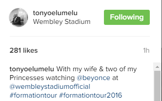 TONY ELUMELU & FAMILY AT THE BEYONCE'S FORMATION LONDON PERFORMANCE