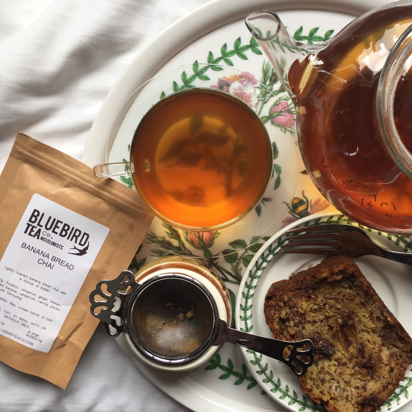 Bluebird tea co. banana bread chai and banana bread
