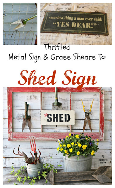DIY Vintage Grass Shears & Stenciled Garden Shed Sign #oldsignstencils #gardenjunk #junkgarden #signs