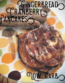 low carb, pancakes, low carb pancakes, gluten free pancakes, healthy pancakes, holiday pancakes, cranberry pancakes, gingerbread pancakes, keto, choc zero, ketosis, keto breakfast