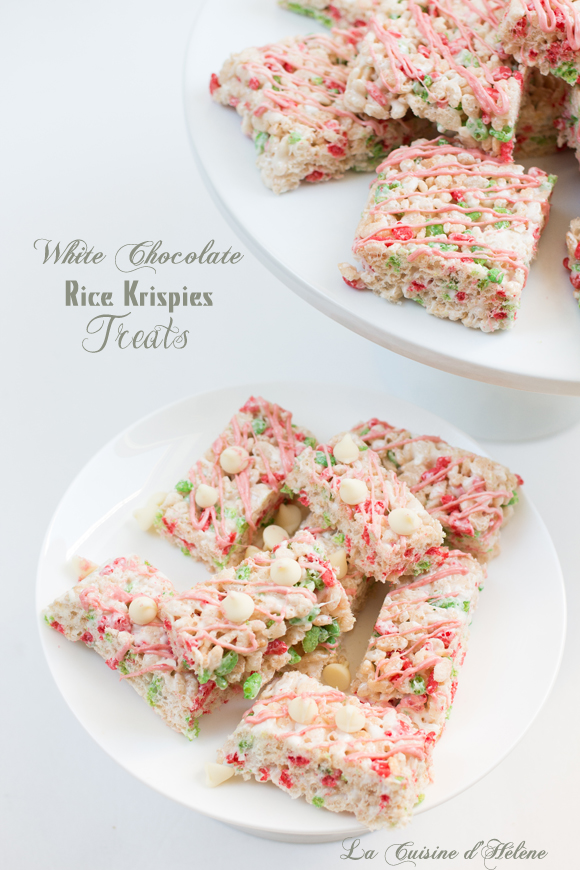 White Chocolate Rice Krispies Treats - La Cuisine d'Helene