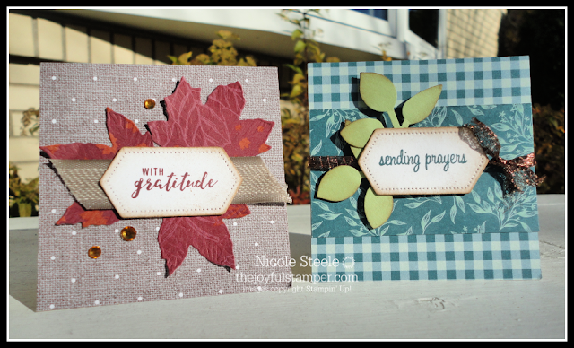 3x3 note cards 3 and 4 using Stampin' Up!'s Come To Gather product suite