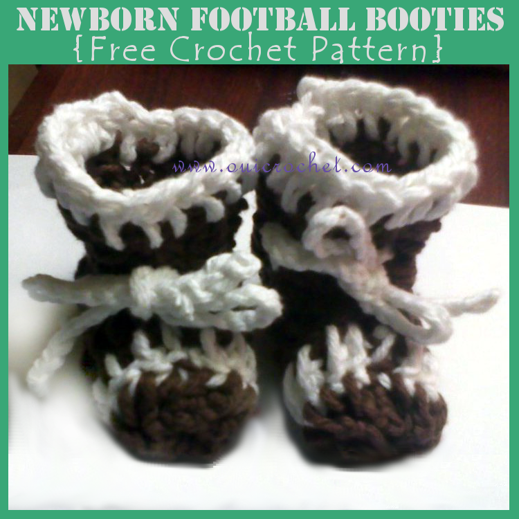 Crochet, Crochet Booties Pattern, Crochet Football Booties, Free Crochet Pattern,
