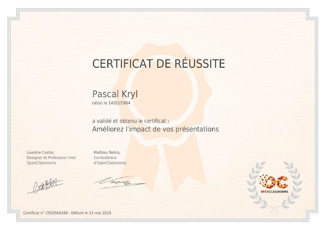certificat réussite OpenClassrooms Améliorez l'impact de vos présentations