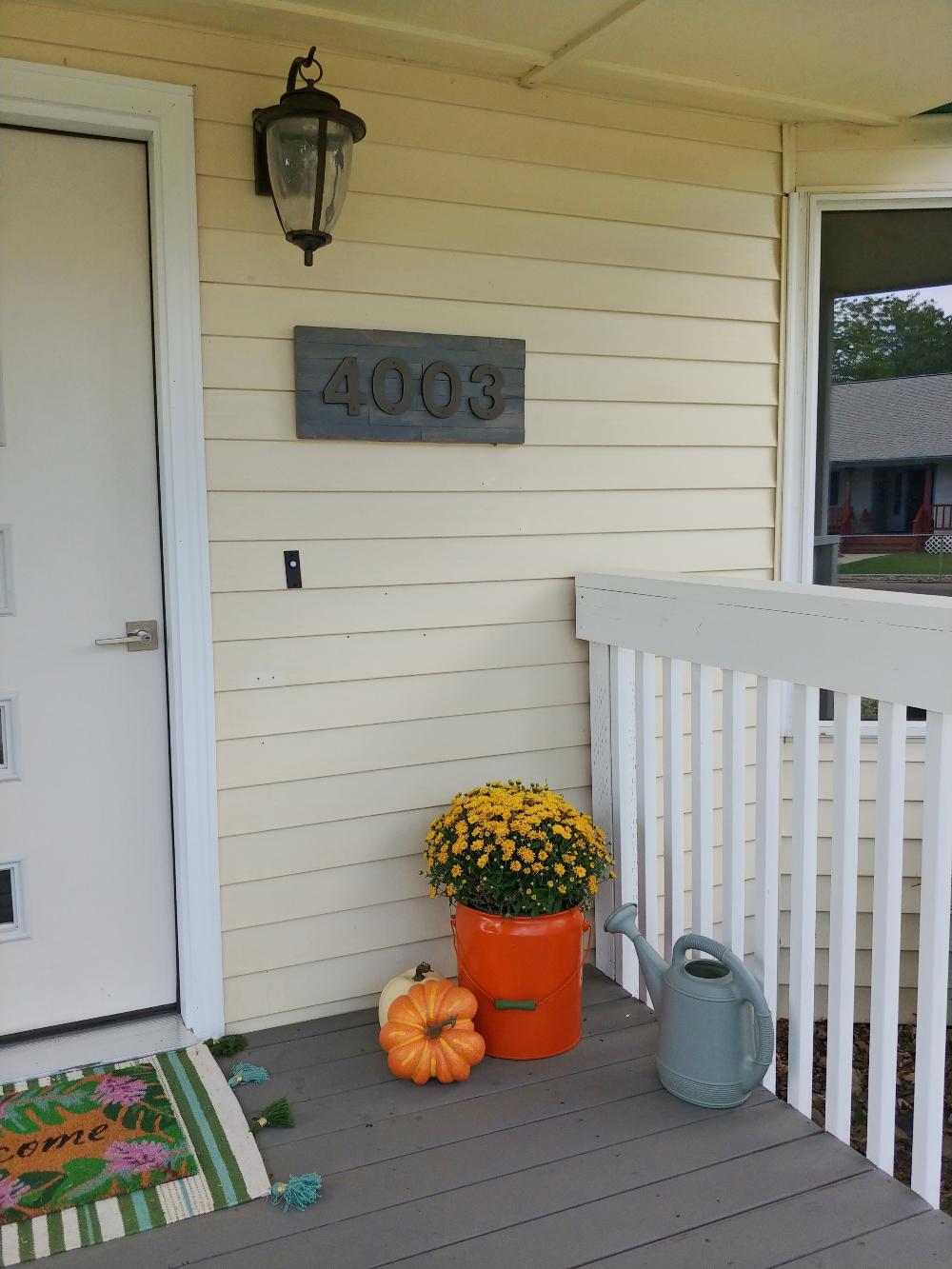 DIY wood shim address plaque