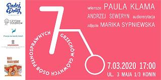 7 grzechów głównych osób pełnosprawnych - plakat wydarzenie, na różowym tle białe litery z tytułem i autorami, zarys wózka skompnowany z cyfrą 7, po lewej partnerzy wydarzenia - Czytam duszkiem