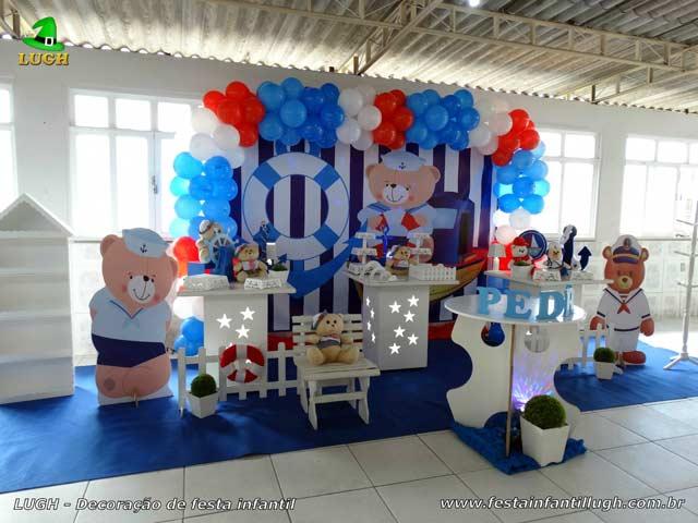 Decoração da mesa do bolo de aniversário tema Ursinho Marinheiro - Festa de aniversário de 1 ano ou chá de bebê - Barra - RJ