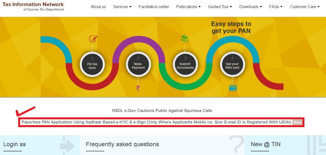 Now Apply Paperless Pan Card Online Using Aadhaar Based E