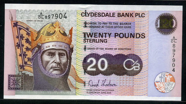Clydesdale Bank money 20 Pounds Sterling banknote Robert the Bruce