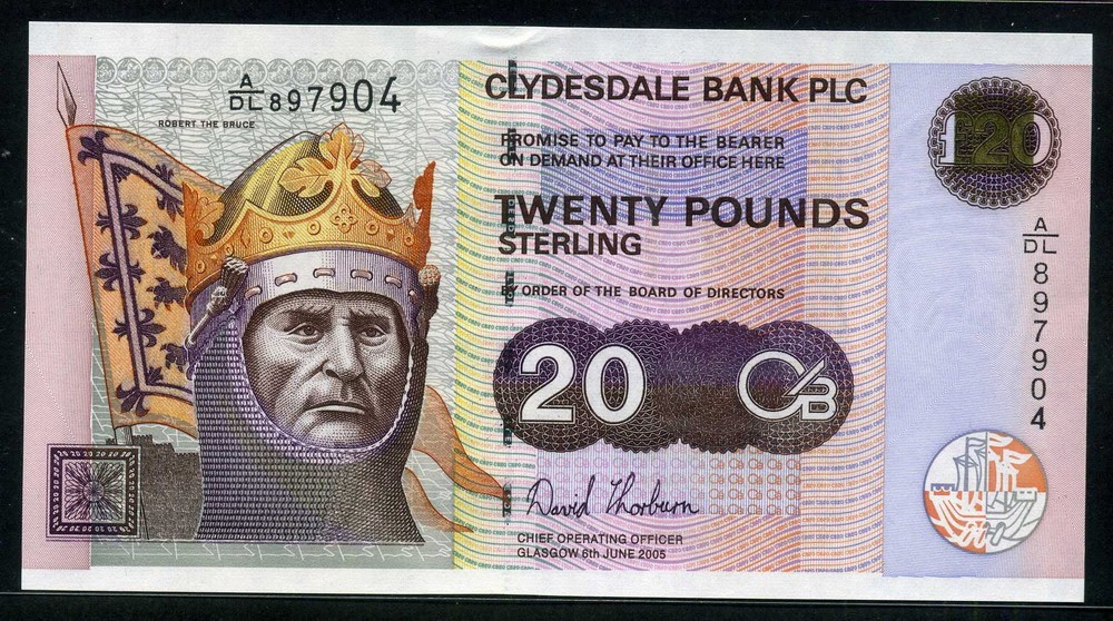 Clydesdale Bank 20 Pounds Sterling 2005 Robert the Bruce