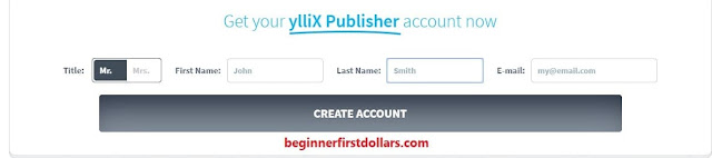 Create a new account on Yllix
