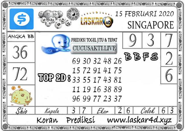 Prediksi Togel SINGAPORE LASKAR4D 15 FEBRUARI 2020