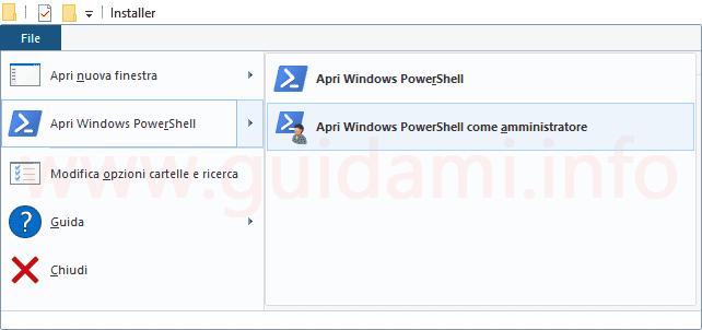 Esplora file Windows 10 Apri Windows PowerShell