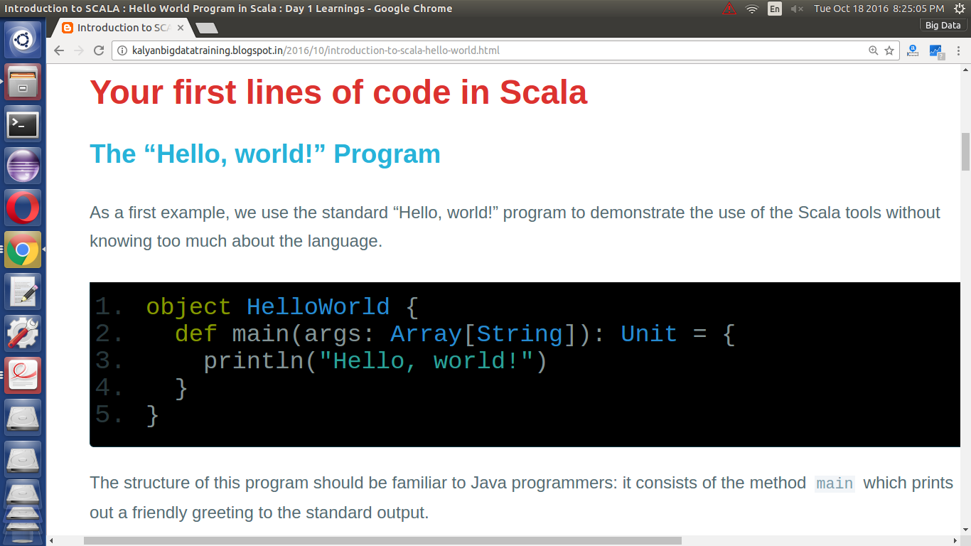 Introduction to SCALA : Hello World Program in Scala : Day 1