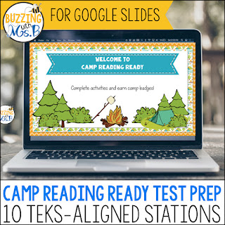 Pepare students for their STAAR test with this fun virtual reading test prep camp! Camp Reading Ready includes 10 different activities aligned with the TEKS to help students practice for their big test day. Identify genre and match vocabulary and definitions, play a character traits board game and nonfiction text features memory! Use context clues, make inferences in poetry, find figurative language in fiction and more! 3rd, 4th, and 5th grades. #staartestprep