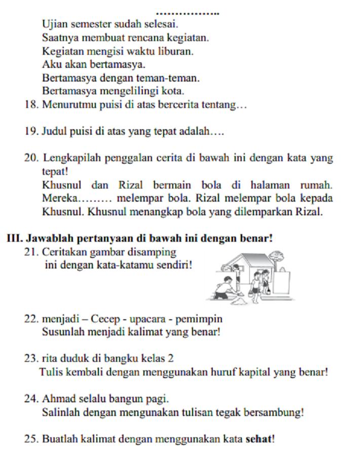 Soal Dan Jawaban Latihan Uas Bahasa Indonesia Kelas 2 Sd Mi Semester 1 Serba Serbi Guru
