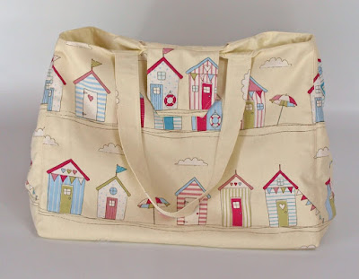 Large beach hut print beach bag, holiday bag, vacation bag, extra large tote bag by Gertie's Bags