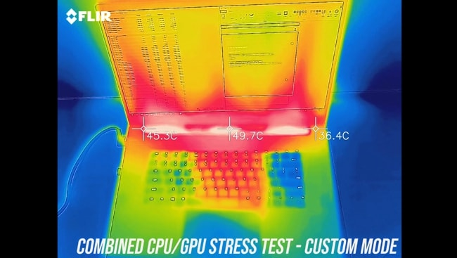 Measured the temperature of the keyboard and palm rest during the stress tests in custom mode.