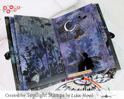 Lisa Hoel for Topflight Stamps - Night & Day journal #topflightstamps #creativejuicefreshsqueezed