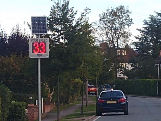 Photograph of The speed warning sign on Bluebridge Road, Brookmans Park Image by North Mymms News released under Creative Commons BY-NC-SA 4.0