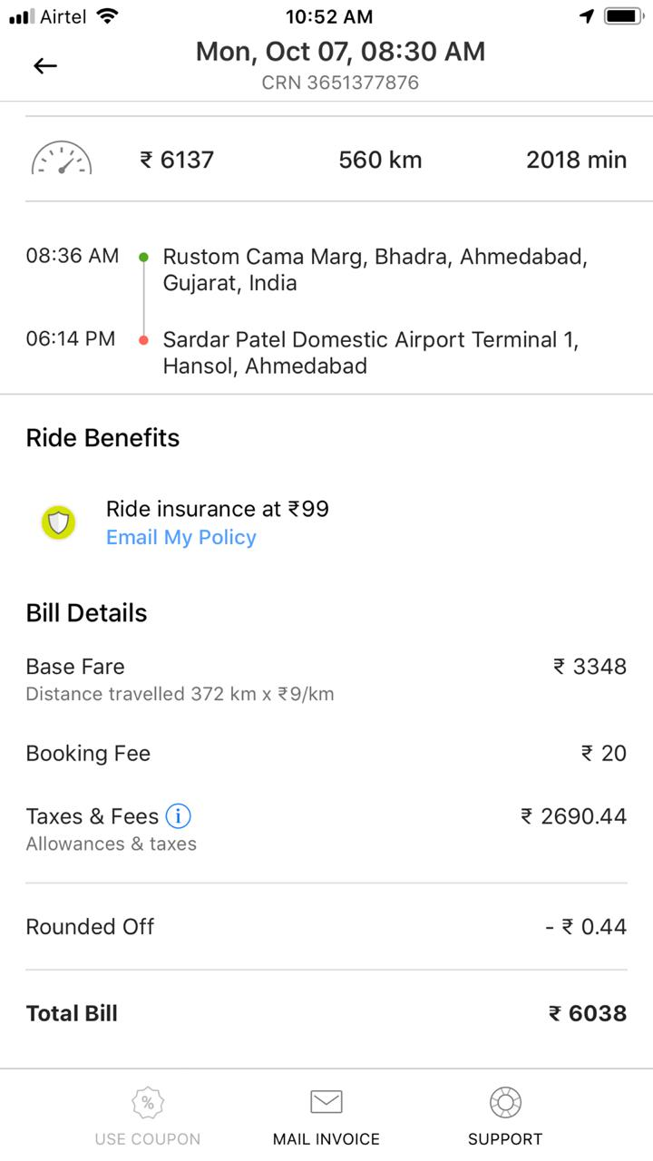 Throughout the day, we just changed locations as per our itinerary and enjoyed moving around different places in Gujrat. We will be sharing detailed posts about some of the popular and interesting places we explored around Ahmedabad in Gujrat.     Before I shared further about 2 days outstation trip, let's list down some of the advantages and downsides of Ola Outstation. Would request you to contribute through comments section if you have viewpoints around this.     Advantages of Ola Outstation :    1. Cost effective. (Effectiveness may vary from one place to other because Taxi vendors may offer different prices in different states/cities of India)    2. Ola app gives best control of how you should move between the locations and ease to use the app throughout the trip. That saves lot of energy when you are stuck with driver who needs specific instructions all the time. In case of smarter drivers, this is not as useful.     3. Rating system in Ola app is a good way to ensure that driver tries not make lot of mistakes and follow what customer wants.